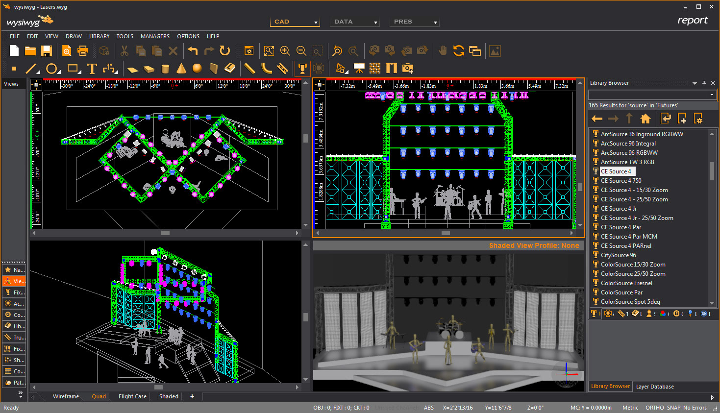 wysiwyg Report version. Quad Mode showing newly added isometric and shaded view.